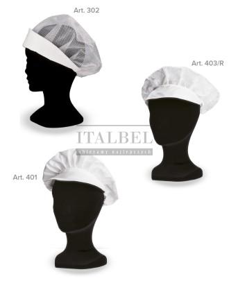1. Czapka kucharska z siatką na włosy (302) 2. Czapka kucharska Monello, w rąby (403/R) 3. Czapka kucharska Monello (401) - 400