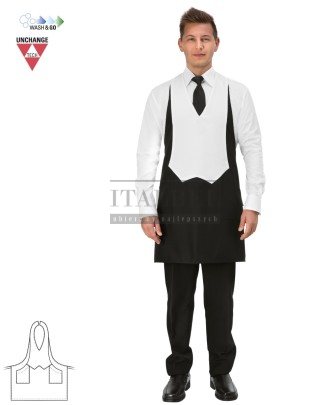 Fartuch kelnerski unisex Gianni ' Kolor czarno-biały ' 15P01H618 - 16 / 400